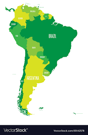 Political Map Of South America Simple Flat