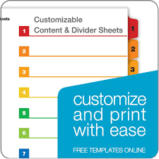 Quickstep Onestep Printable Table Of Contents Dividers 10 Tab Multicolor 24 Pk