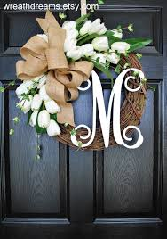 BEST SELLER! White Tulips Grapevine Wreath with Burlap. Year Round ...