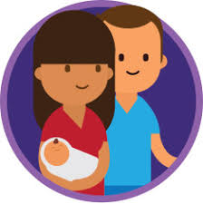 couple with baby ilration