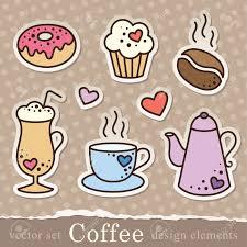 Sticker Design For Scrapbook Set Of Coffee Stickers Vintage Elements For Scrapbook Design