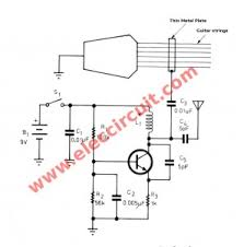 modify acoustic into the electric guitar on fm wireless the circuit diagram