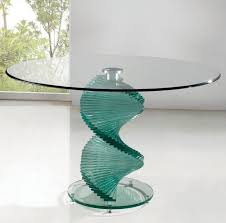 contemporary round glass dining table with spiral glass base