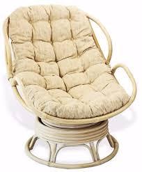 Handmade Rattan Wicker Swivel Rocking Chelsea Papasan Chair with Cream  Cushion.