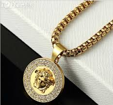 mens 18k gold round pendant necklace hip hop jewelry