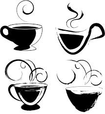 無料ベクターシルエット素材ラフなタッチのコーヒーカップ4個 All