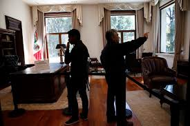 Furniture in mexico Carved Visitors Take Photos Inside The Presidential Office At The Presidential Residence Know As Los Pinos In Real Estate Sale Mexico What Happened To All The Art In Mexicos Presidential Palace The