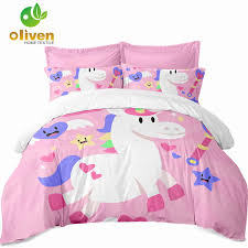 cute unicorn bedding sets colorful animal cartoon print boys girls kids duvet cover sets single double king queen bedclothes a40 jpg