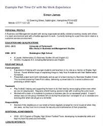 Resume Template First Part Time Job Astonising Example Job Resume
