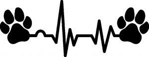 Samolepka Srdeční Tep 005 Pravá Tlapky Tlapka A Srdíčko