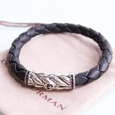 david yurman silver chevron leather waive bracelet with black diamonds