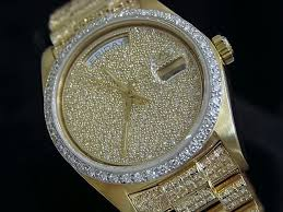 rolex mens gold day date president 18038 for beckertime rolex 18k yellow gold day date president 18038 full diamond 5