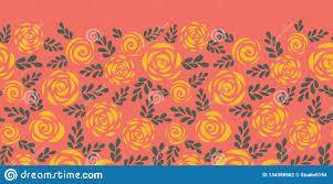<b>Abstract</b> Floral Seamless Vector Border. <b>Scandinavian Style</b> Roses ...