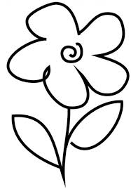 Very Simple Flower Coloring Page For Preschool Crafts Coloring