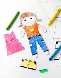 Paper doll boy and clothes coloring book. Color Your Own Printable Paper Dolls Design Eat Repeat