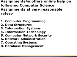 assignmentsu computer science assignment help online computer sci  9 assignments4u offers online help on following computer science assignments