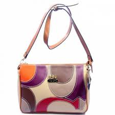 Coach Poppy Op Art Medium Orange Ivory Crossbody Bags DXJ