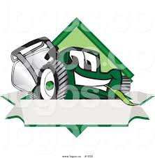 blank lawn care logos. royalty free cartoon vector logo of a grass green lawn mower mascot behind blank label care logos