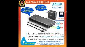 Combo ANKER B1376: Pin dự phòng PowerCore+ 26800mAh PD 45W A1376 & Sạc ATOM  III 60W GaN A2613 - YouTube