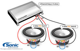 two dual 2 ohm subs 4 ohm 2 chan amp see diagram