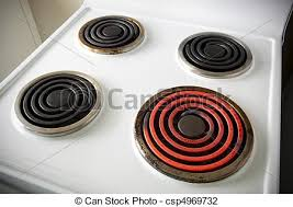 Electric stove top Vintage Electric Stovetop Csp4969732 Can Stock Photo Electric Stovetop Four Electric Elements On Stove With One Turned On