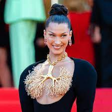 Whew, Bella Hadid Needs Only a Necklace ...