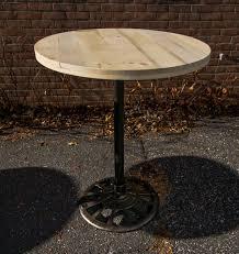 custom made reclaimed wood round pub tables