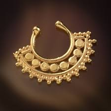 afghan gold plated faux fake septum ring for non pierced nose clip on