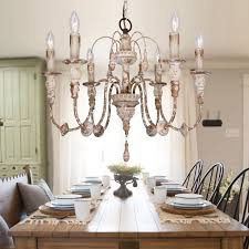 nto 6 light wood chandelier distressed antique white