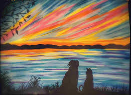 for wine and canvas painting ideas paintings rhcom dog cat silhouette at the lake rainbow sunset