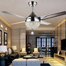RainierLight Modern Crystal Ceiling Fan Lamp LED 3 Changing Light 4
