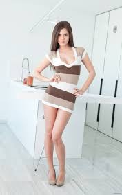 hotminiskirts Beautiful Little Caprice in a stripy mini dress.