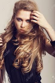 Long Wavy Hair Hairstyles Beautiful Girl With Healthy Long Hair And Fresh Makeup Wavy