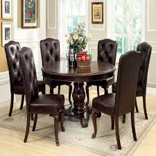 dining table with 6 leatherette chairs 7 pc set bellagio collection concept with dining chairs