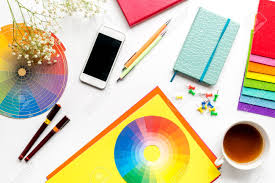 White work desk Workspace Graphic Designer Office In Profession Concept On White Work Desk Background Top View Stock Photo 123rfcom Graphic Designer Office In Profession Concept On White Work Desk