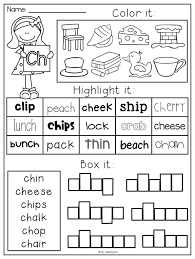 A worksheet where children complete the words by writing the initial sounds ch, sh, th, ph or wh. Digraph Ch Worksheets For First Grade Printable Worksheets And Activities For Teachers Parents Tutors And Homeschool Families
