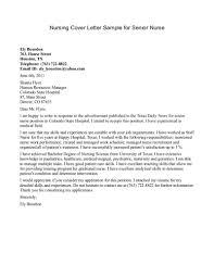 Cover Letter Sample Nurse Nursing Job Cover Letter Examples Example