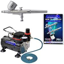gravity dual action airbrush kit set air compressor spray auto paint hobby craft com