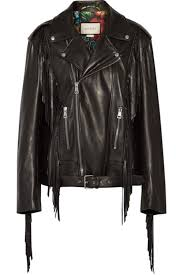 black fringed leather biker jacket by gucci