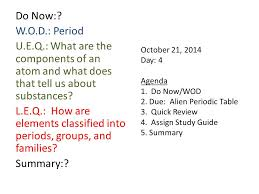 Atoms and the Periodic Table. October 6, 2014 Day: 5 Agenda 1. Do ...