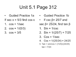 unit 5 1 page 312 guided practice 1a if sec x 5 3 find cos