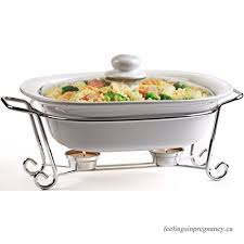 circleware ceramic cookware chafer buffet server warmer baker serving tray with glass lid and metal serving