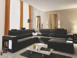 furniture black u shaped sectional sofa with modern table and rug