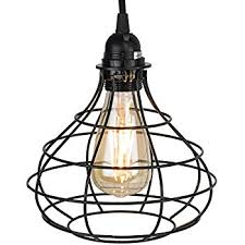 lighting cage. Industrial Cage Pendant Light With 15\u0027 Toggle Switch Black Fabric Plug-in Cord And Lighting
