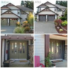 exterior before and after with painted garage doors front door and black trim with vinyl siding