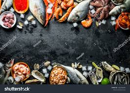 Healthy Diet Seafood On Ice On
