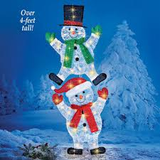 yard snowman stake outdoor xmas decoration garden lighted ornaments