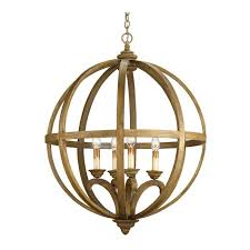large wooden orb chandelier