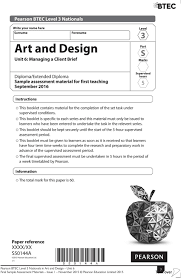Btec Art And Design Assignments Sample Assessment Materials Sams Pearson Btec Level 3