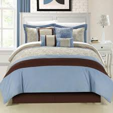 light blue and white comforter set bedroom brown added wooden lamp 2